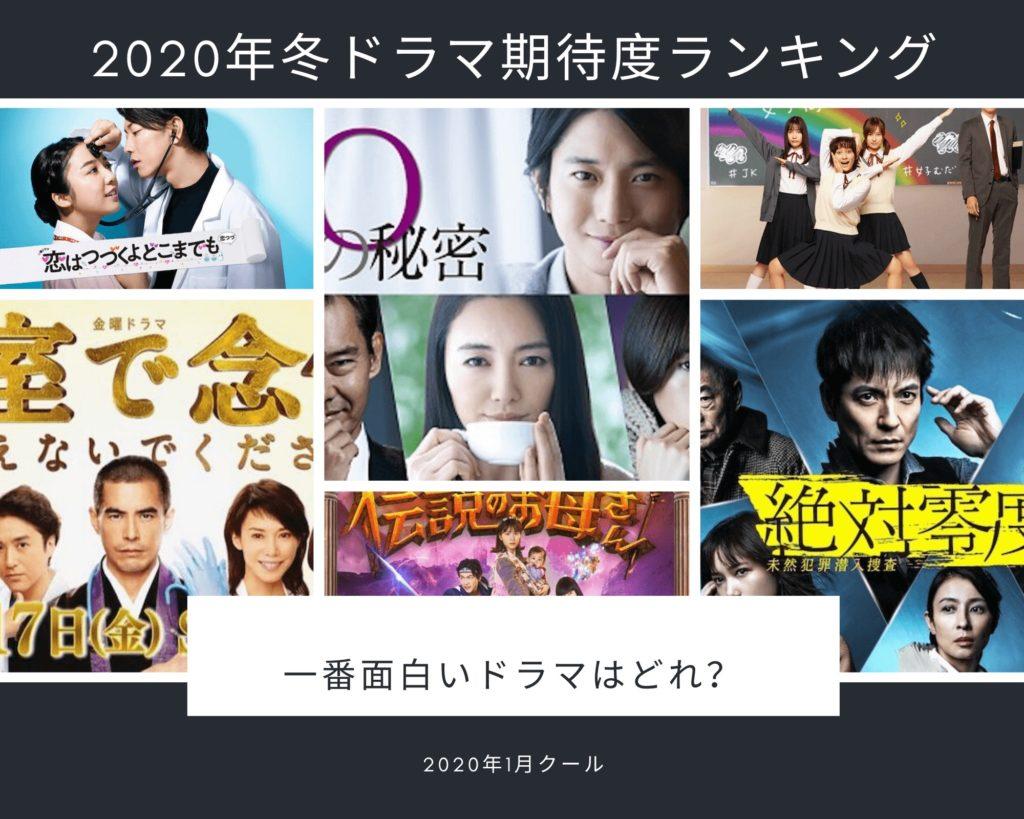 【最新】2020年冬ドラマ視聴率ランキング&一覧【1月~3月】最も人気な冬ドラマは?